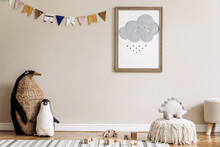 Stylish Scandinavian Kid Room With Mock Up Poster, Toys, Teddy Bear, Plush Animal, Natural Pouf And Children Accessories. Modern Interior With Beige Background Walls. Template. Design Home Staging.