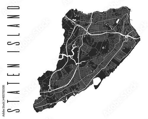 Tableau sur Toile Staten Island map poster