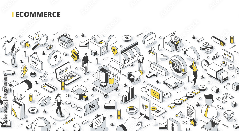 Fototapeta Business, e-commerce, and online shopping isometric banner. Abstract concept of searching & purchasing items via the internet