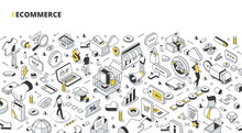 Business, E-commerce, And Online Shopping Isometric Banner. Abstract Concept Of Searching & Purchasing Items Via The Internet