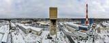 Fototapeta Londyn - stara wieża szybowa z nieistniejącej kopalni węgla w Jastrzębiu Zdroju na Śląsku, zimą z lotu ptaka