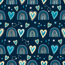 Seamless Pattern With Hearts, Rainbows And Celestial Elements