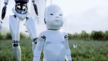 Mother Robot With Her Baby Robot In The Meadow On The Background Of A Futuristic City. Family Of The Future. Robofamily. 3d Rendering.