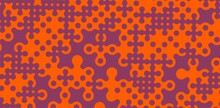 Abstract Orange Ornament Pattern Isolated On Purple Background Vector Illustration