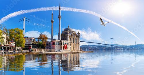 Ortakoy Mosque and the Bosphorus Bridge, beautiful sea view, Istanbul Poster Mural XXL