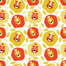 Funny Muzzle Of The Lion King In A Crown. Hand Drawn Wild Cat In The Jungle Seamless Pattern On White Background. Cartoon Character Of Baby Animal. Texture Design For Children In A Scandinavian Style.