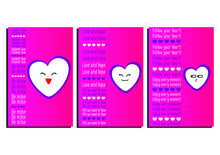 Set Of Three Pink And Purple Valentine's Day Cards. Hearts With Emoji, Cards With Romantic Text. Postcards For Festive Design, Packages, Wallpapers, Decoration