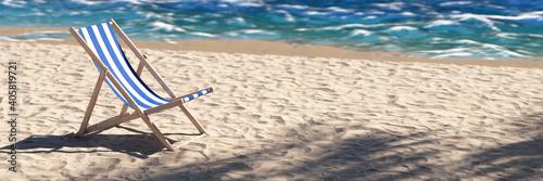 Fotografía Leerer Liegestuhl am Strand wegen Coronavirus Reisewarnung