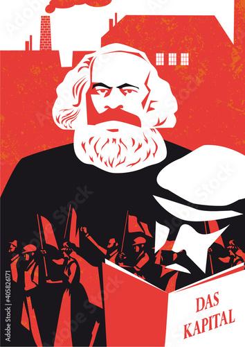 Stampa su Tela Karl Marx vector illustration