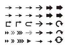 矢印 アイコンセット/白黒 グラデーション/シンプルでベーシックな素材
