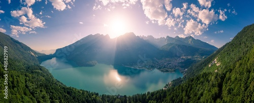 Obraz Aerial View Of Lake Molveno In Italy - fototapety do salonu