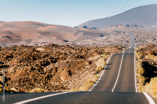 Scenic road at Timanfaya, Lanzarote. Volcanic Landscape Canary Islands