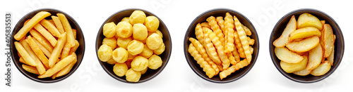Fototapeta Bowls of french fries isolated on white, from above obraz