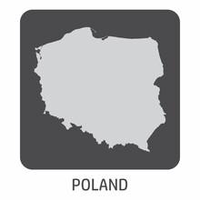 The Poland Silhouette Map Icon On Dark Box