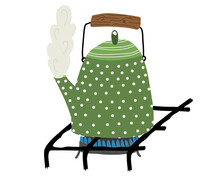 Vector Image Of Green Boiling Kettle With Wooden Handle On Gas-stove. Cosy Concept. Tea Time. Flat Style.