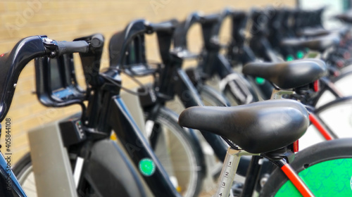 Fototapeta premium Close-up Of Bicycles Parked