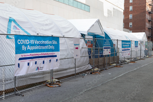 Outdoor Covid 19 Vaccination Site at Mount Sinai Queens Hospital of Astoria on January 14, 2021 in Queens, New York
