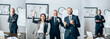 Leinwandbild Motiv Collage of cheerful businesspeople showing yeah gesture and businessmen standing with crossed arms in office, banner