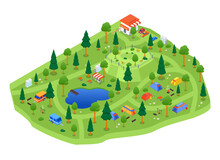 Camping Site - Modern Vector Colorful Isometric Illustration