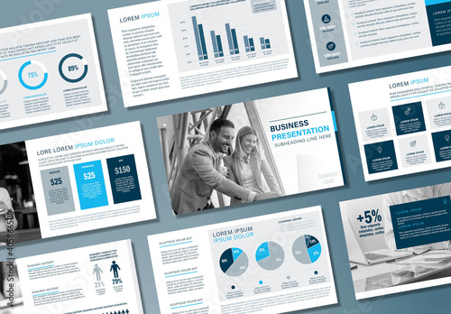 Fototapeta Monochrome Blue Business Presentation Layout obraz