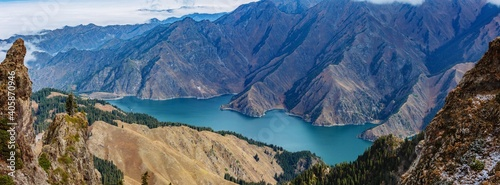 Panoramic View Of Lake And Mountains Against Sky #405870946