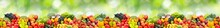 Large Horizontal Seamless Pattern Ripe And Fresh Fruits And Vegetables On Green Background.