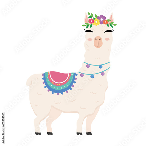 Fototapeta premium cute alpaca exotic animal with chair and flowers in head and necklaces vector illustration design
