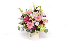 Bouquet Of Flowers In The Box Isolated On White Background