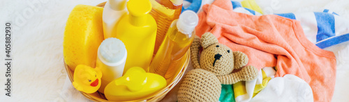 Accessories for bathing the baby. Selective focus. Fotobehang