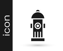Black Fire Hydrant Icon Isolated On White Background. Vector.
