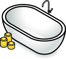 A Modern Free-standing Bath Tub With Candles.