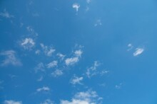 Blue Sky And Few Clouds On A Summer Morning