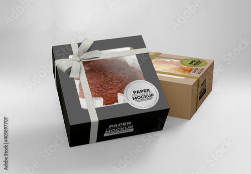 Obraz 2 Flip Top Cake Boxes Packaging Mockup - fototapety do salonu