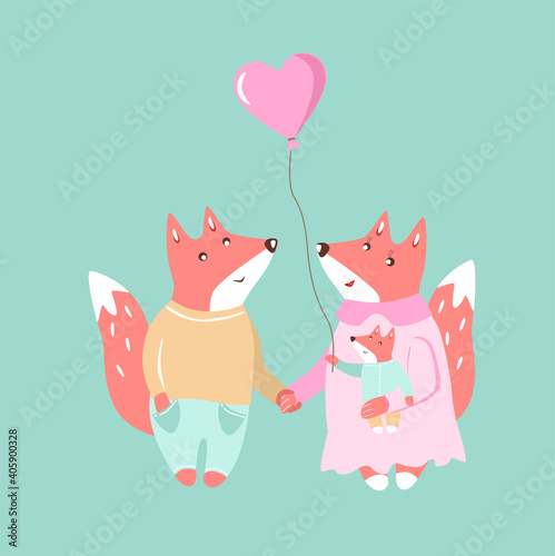 Valokuva Cute cartoon foxes family Mother father baby with balloon heart Valentines Day i