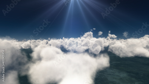 Valokuva fly above big clouds, 3d illustration render