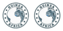 Guinea Round Logos. Circular Badges Of Country With Map Of Guinea In World Context. Plain And Textured Country Stamps. Vector Illustration.