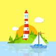 Beautiful lighthouse in the Harbor. Red white tower. Attraction for tourists at sea. A green island with forests and boat.