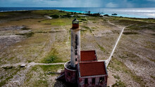 Aerial Top View Of An Old Abandoned Lighthouse In Little Curacao Uninhabited Island