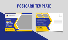 Real Estate Postcard Template Design With Yellow And Dark Blue Shape Premium Vector