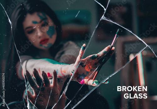 Fototapeta Broken Glass Screen Photo Effect Mockup obraz