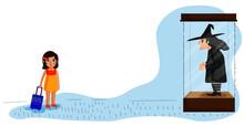 Ilustración Niña Y Bruja, Cuento Infantil. Dibujo Vectorial Niña  Caminando Con Su Maleta.