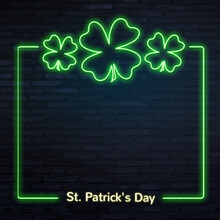 St. Patrick's Day Background Neon Effect Clover