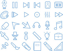 Set Of 30  Stationery, Office And Music Icons. Outline Thin Line Icons Such As Pen Tool, Pencil, Push Pin, Notebook. Universal Web Icons For Media, Communication, Business, Mobile. Vector Illustration
