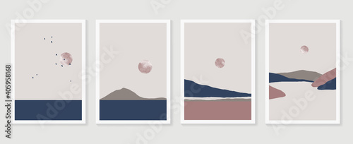 Mountain and landscape wall arts vector collection. Gold and Watercolor art with sun, moon, sky. Design for wall art home decoration, prints, digital and smart phone wallpaper, fabric and background