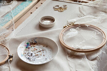 Workplace Of An Embroiderer With Embroidery Frames, Angel Embroidery, Beads