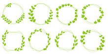 Set Of Laurel Wreath Design Elements. Green Circle Border Vector Ornaments. Wreath Decoration With Leaves. Vector Illustration.リーフデザイン、グリーンリースイラスト、リースイラスト