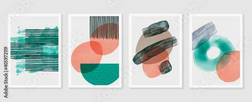 Obraz Abstract wall arts vector collection.  Earth tones organic shape Art brush design for wall framed prints, canvas prints, poster, home decor, cover, wallpaper. Vector illustration - fototapety do salonu