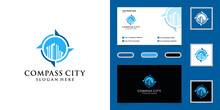Modern Building Logo And Compass Deign Template And Business Card