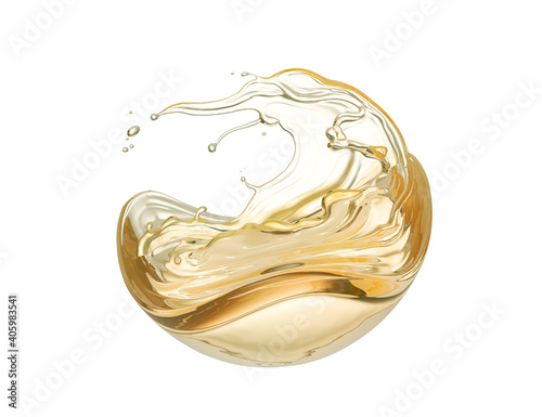 Obraz na plátně Olive or engine oil splash, cosmetic serum liquid isolated on white background