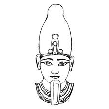 Portrait Of Ancient Egyptian Pharaoh. Head Of God Osiris. Hand Drawn Linear Doodle Ink Sketch. Black Silhouette On White Background.